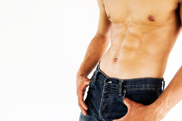 Sexy shirtless muscular male model,Healthy lifestyle concept and ideas