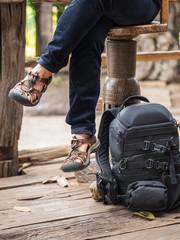 Backpack of traveler