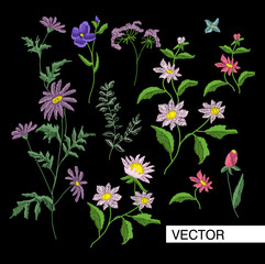 Embroidery flowers. Embroidered design elements with flowers and leaves on a black background.