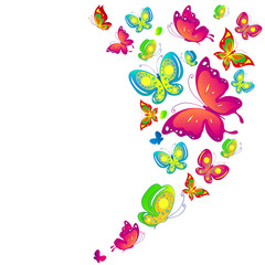 Wall Murals Birds, bees beautiful color butterflies,set, isolated on a white