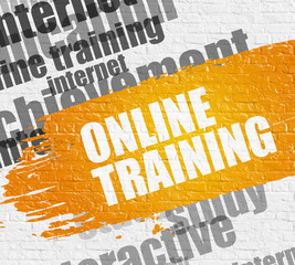 Business Education Concept: Online Training. Yellow Text on the White Brick Wall. Online Training - on the Brick Wall with Word Cloud Around. Modern Illustration.