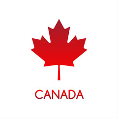 Simple vector illustration of Canadian maple leaf, Canada, Canadian red symbol