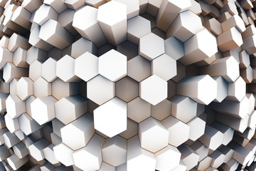design element. 3D illustration. rendering. abstract hexagon background