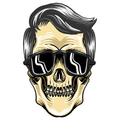 cool skull with hair and sun glasses for logo symbol and mascot