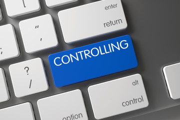 Controlling Concept: Slim Aluminum Keyboard with Controlling, Selected Focus on Blue Enter Button. 3D.