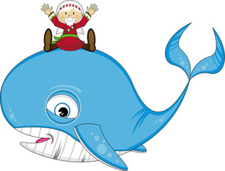 Cartoon Jonah and the Whale Bible Illustration