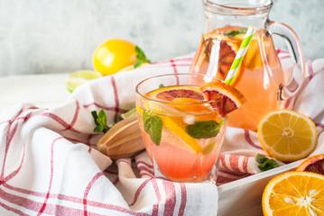 Homemade lemonade and ingredients.