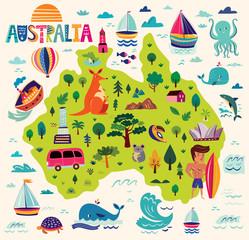 Illustration with Australian symbols. Map of Australia