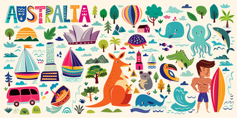 Illustration with Australian symbols.