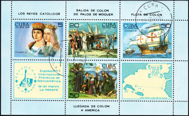 UKRAINE - CIRCA 2017: A postage stamp printed in Cuba shows scenes related to the discovery of America by Columbus, from the series International Philately Exhibition of Iberoamerica, circa 1984