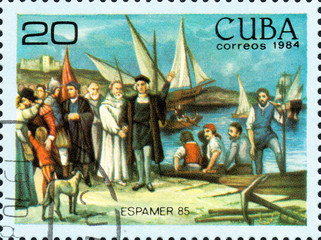 UKRAINE - CIRCA 2017: A postage stamp printed in Cuba shows Departure of colon of moguer sticks, from the series International Philately Exhibition of Iberoamerica Havana Espamer 85, circa 1984