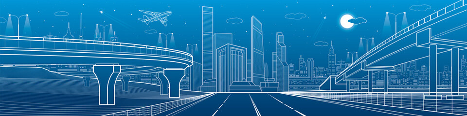 Big highway. Automobile overpasses, infrastructure and city panorama, airplane fly, night town, towers and skyscrapers, urban scene, vector design art