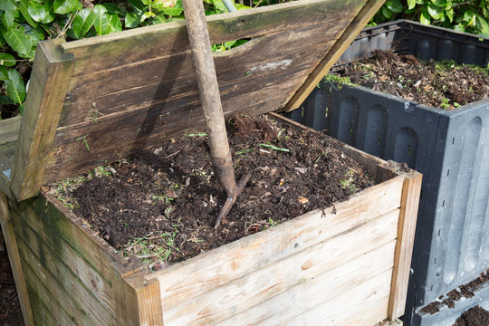 two compost in the family garden full