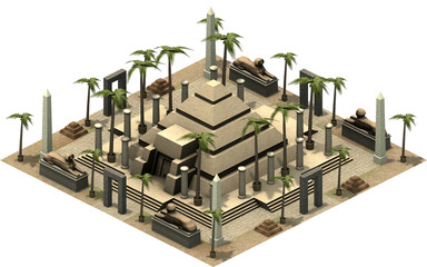 Isometric buildings of ancient Egypt, pyramid. 3D rendering