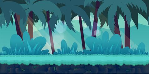 Wall Murals Green coral cartoon jungle landscape, vector unending background