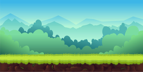 Mountains Landscape For Ui Game, vector unending background with separated layers for game.