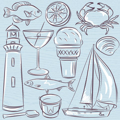 Set of  summer symbols, shells, crab, boat, cocktail, lighthouse, ice cream, bucket, fish, fruit on a blue  grunge background, vector illustration.