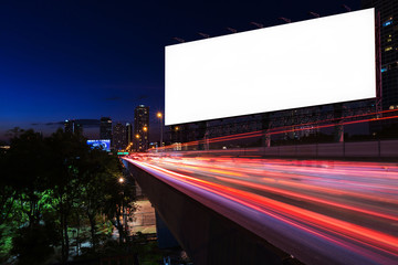 Blank billboard on light trails, street and urban in the night