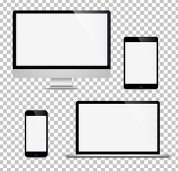 Realistic set computer, laptop, tablet, phone on a isolated background. Vector image