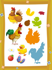 cartoon page with farm characters different animals game with shapes