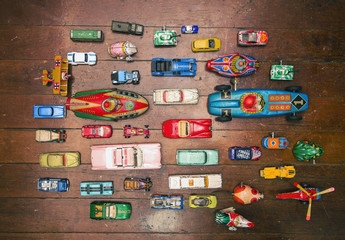 a large collection   of vintage tin toys