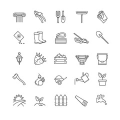 Icons set - gardening, tools, flowers,vegetables