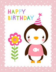 Cute vector illustration with a penguin in hubcap. Greeting card for birthday. Background