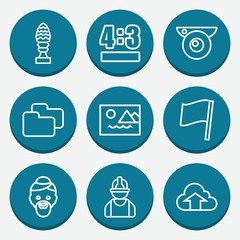 Set of 9 blue outline icons