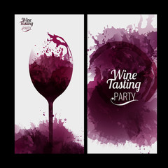 Design template list, wine tasting or invitation. Illustration glass of wine. Background with wine stains, expressive texture