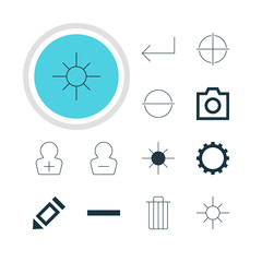 Vector Illustration Of 12 Interface Icons. Editable Pack Of Sunshine, Snapshot, Cogwheel And Other Elements.