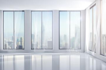 3d interior room with big windows