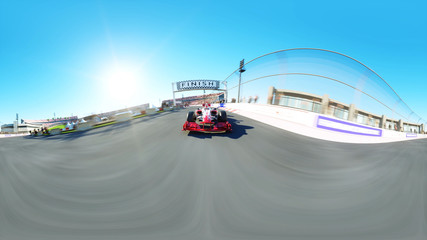 360 degrees, spherical video. Race car. Very fast driving 3d rendering.