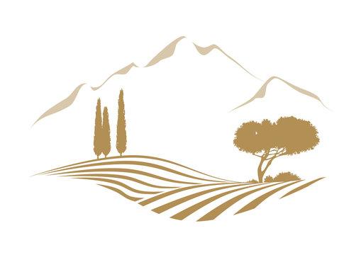 Mittelmeer Vektor Hügel Landschaft mit Feld, Zypressen, Pinie und Gebirge