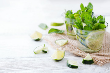 Cucumber lime mint fresh infused water detox drink cocktail lemonade