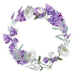 Lavender and peony round frame vector template