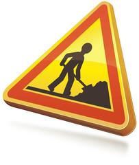 Panneau de danger temporaire travaux 3D(ombre)