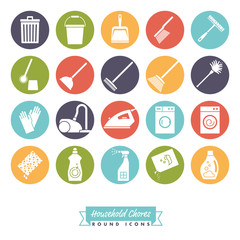 Household Chores Round Color Icon Set