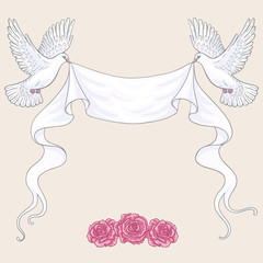 Flying  Doves, Ribbon and Pink Roses