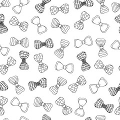 Cute seamless monochrome pattern with beautyful bow-tie