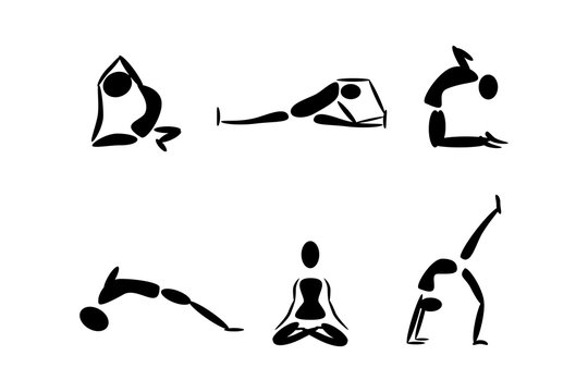 Stick figures in different yoga poses. Vector illustration.