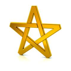 3d illustration of golden pentagram