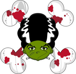 Cartoon Halloween Frankensteins Bride