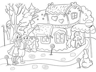 Childlike coloring vector story scene with pair of children eating some sweets near colorful cottage in deep forest