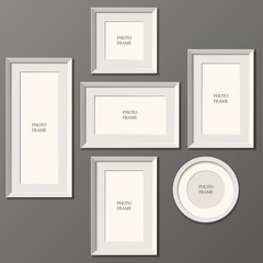 Set of white frames. wall. Place for advertising, photos, pictures. vector image