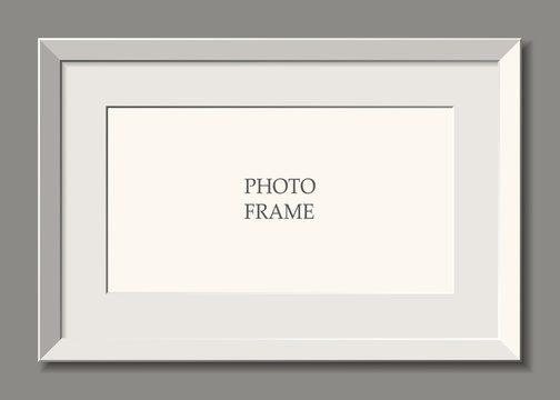 white frame. wall. Place for advertising, photos, pictures.