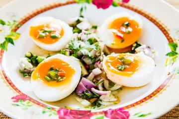 medium-boiled eggs with salad