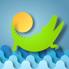 Vector illustration box of shadow Crocodile plays with the Sun in water