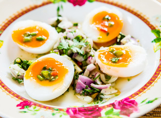 medium-boiled eggs with salad