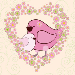 Mother's Day greeting background with cute cartoon birds. Graphics illustration for card, T-shirt. A small nestling next to a large bird in the frame of a heart made of flowers.