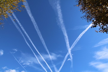 Vapor Trails in the blue sky.